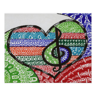 Colorful Rainbow Music Heart Doodle Personalized Poster