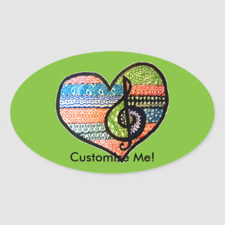 Colorful Rainbow Music Heart Doodle To Customize Oval Sticker