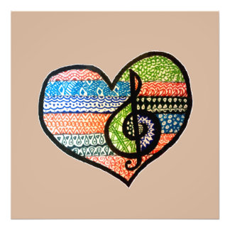 Colorful Rainbow Music Heart Personalized Photo Print