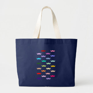 Colorful Rainbow Mustache pattern on black Large Tote Bag