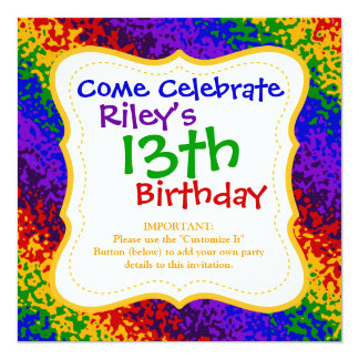 Colorful Rainbow Paint Splatters Abstract Art 13 Cm X 13 Cm Square Invitation Card