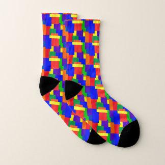 Colorful Rainbow Patchwork Pattern Socks 1
