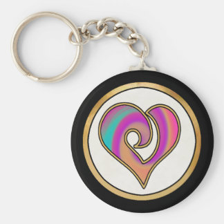 Colorful Rainbow Pattern Collection -  03 Basic Round Button Key Ring