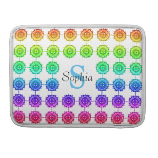 "Colorful Rainbow Pattern Monogram 13"" Sleeve For MacBook Pro"