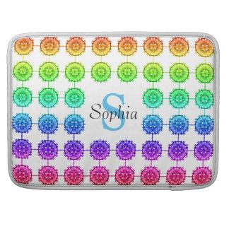 "Colorful Rainbow Pattern Monogram Macbook Pro 15"" Sleeve For MacBooks"