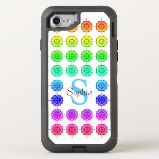 Colorful Rainbow Pattern Monogram OtterBox Defender iPhone 8/7 Case