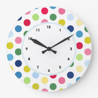 Colorful Rainbow polka dot wall clock