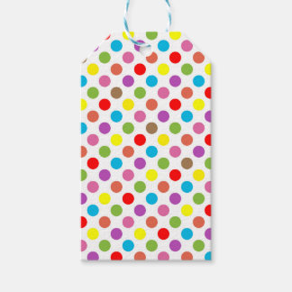 Colorful rainbow polka dots pattern gift tags