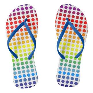 Colorful Rainbow Polkadots Flip Flops