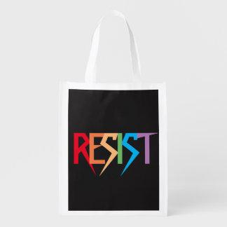 Colorful Rainbow Resist Reusable Grocery Bag