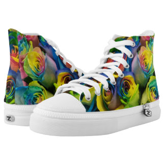 Colorful Rainbow Roses Print High Top Shoes