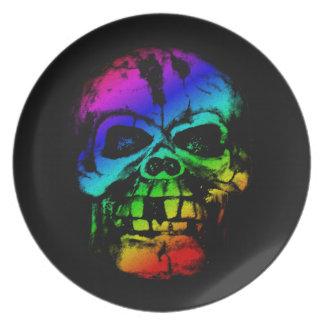 Colorful Rainbow Skull Dinner Plate