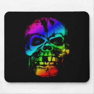 Colorful Rainbow Skull Mouse Pad