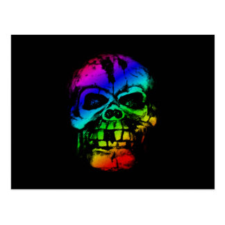 Colorful Rainbow Skull Postcard