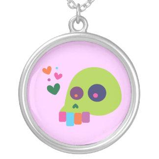 Colorful Rainbow Skull Round Pendant Necklace