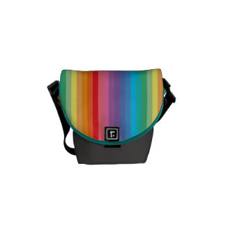 Colorful rainbow striped messenger bag