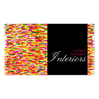 Colorful rainbow stripes + black interior design Double-Sided standard business cards (Pack of 100)