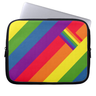 Colorful Rainbow Stripes Celebration with Flag Laptop Sleeve