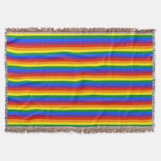 Colorful Rainbow Stripes Gay Pride Afghan Throw Blanket