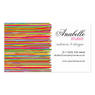 Colorful rainbow stripes interior design Double-Sided standard business cards (Pack of 100)