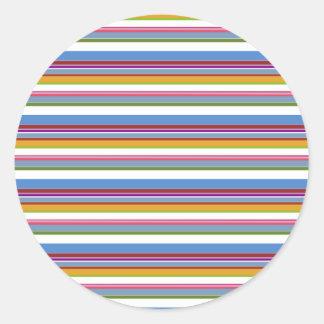 Colorful Rainbow Stripes Round Sticker