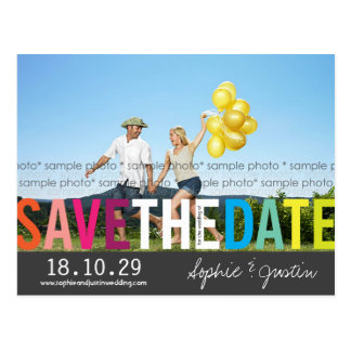 Colorful Rainbow Text Save The Date Photo Postcard