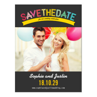 Colorful Rainbow Text Summer Save The Date Photo Postcard