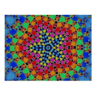 Colorful Rainbow Tie Dye Kaliedscope Fractal Postcard