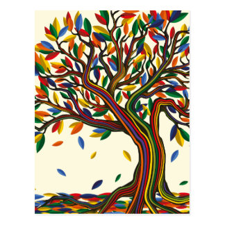 Colorful rainbow tree with bright colors postcard