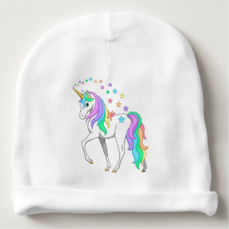 Colorful Rainbow Unicorn and Stars Baby Beanie