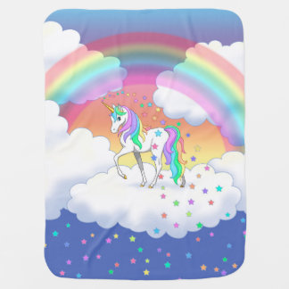 Colorful Rainbow Unicorn and Stars Baby Blanket