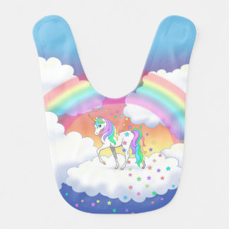 Colorful Rainbow Unicorn and Stars Bib