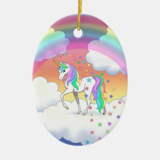 Colorful Rainbow Unicorn and Stars Christmas Ornament