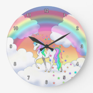 Colorful Rainbow Unicorn and Stars Large Clock