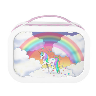 Colorful Rainbow Unicorn and Stars Lunch Box