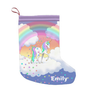 Colorful Rainbow Unicorn and Stars Small Christmas Stocking