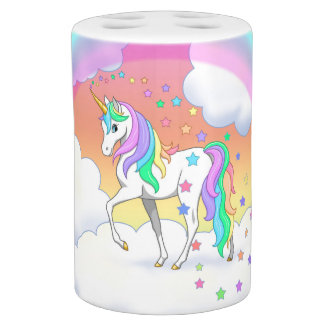 Colorful Rainbow Unicorn and Stars Soap Dispenser And Toothbrush Holder