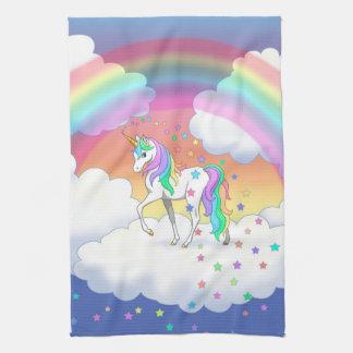 Colorful Rainbow Unicorn and Stars Tea Towel