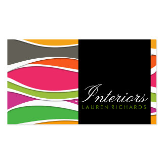 Colorful rainbow waves + black interior design Double-Sided standard business cards (Pack of 100)