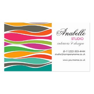 Colorful rainbow waves interior design Double-Sided standard business cards (Pack of 100)