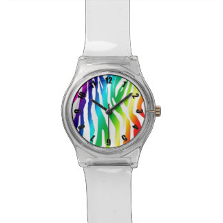 Colorful Rainbow Zebra Pattern Customized Watch