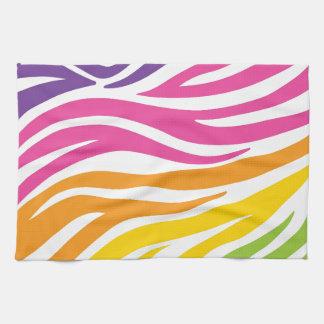 Colorful Rainbow Zebra Print Pattern Gifts Tea Towel