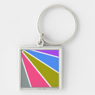 Colorful Rays key chain, customizable Silver-Colored Square Key Ring