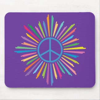 Colorful Rays Surround Peace Sign Mousepad