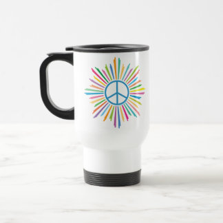 Colorful Rays Surround Peace Sign Mug