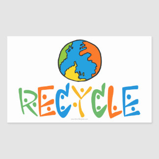 Colorful Recycle Rectangular Sticker