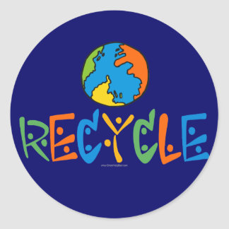 Colorful Recycling Classic Round Sticker