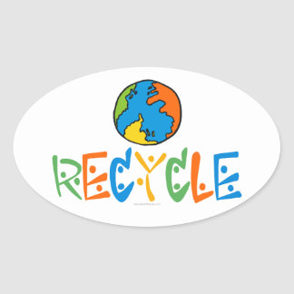 Colorful Recycling Oval Sticker