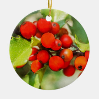 Colorful Red and Green Christmas Holly Watercolor Christmas Ornament