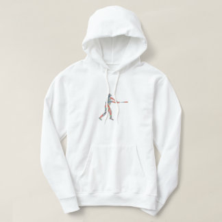 Colorful Red Baseball Player Sports Graphic Hoodie